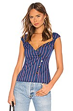 LPA Button Up Top With Pinched Shoulder in Navy Coral Stripe
