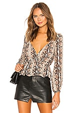 LPA Pinched Shoulder Top in Tan Snake