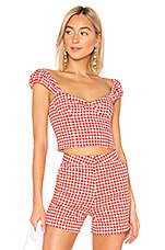 LPA Elena Top in Red Houndstooth
