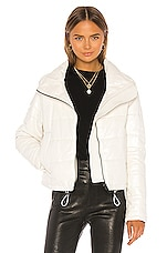 LTH JKT Cay Cropped Leather Puffer Jacket in Pearl White