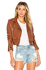 LTH JKT Mya Cropped Biker Jacket in Cognac