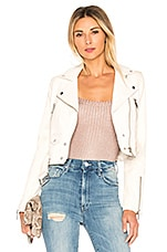 LTH JKT Mya Cropped Biker Jacket in White