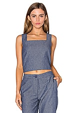 Boxed Crop Top in Dark Chambray
