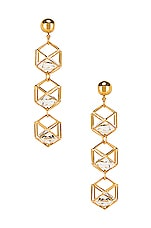 LARUICCI Caged Gem Earrings in Gold
