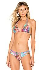 Luli Fama La Mezquita Reversible Zig Zag Knotted Cut Out Bikini Top In Multicolor