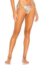 Luli Fama Wavy Ruched Back Bikini Bottom in Multicolor
