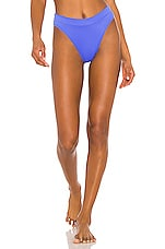 Luli Fama High Leg Banded Bikini Bottom in Blue My Mind