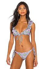 Luli Fama Lace Trim Frilly Bikini Top in Multicolor