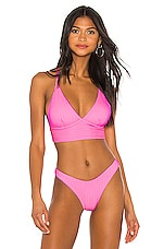 Luli Fama Halter Cross Back Bustier Bikini Top in Barbie Pink