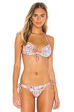Luli Fama Reversible Halter Bikini Top in Multicolor