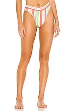 Luli Fama High Leg Banded Bikini Bottom in Multi White