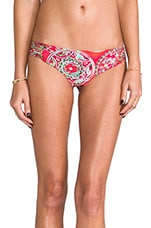 Azulejos del Mar Ruched Back Brazilian Bottom in Multicolor