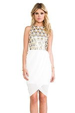 Lumier Blessing In Disguise Mini Dress in White & Gold & Silver