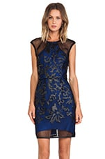Caught Up On You Mini Dress in Black & Blue