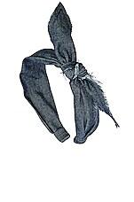 L. Erickson USA Unfinished Bow Scarf Headband in Dark Denim
