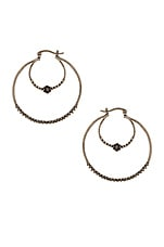 The Hex Stud Statement Hoops in Silver Ox