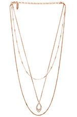 Luv AJ The Pave Marquise Charm Necklace in Rose Gold