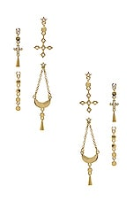 Luv AJ The Celestial Hanging Studs Set in Gold
