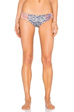 Southern Pacific Bikini Bottom in Navy & Peach Multi