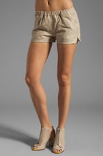 Ibbie Distressed Leather Shorts in Sand