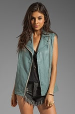 Mackage Frederica Distressed Leather Vest in Iceberg