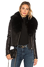 Mackage Yoana Leather Jacket With Fur Trim in Black