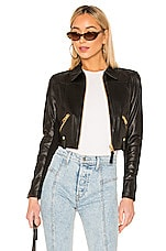 Mackage Bessie Cropped Leather Jacket in Black