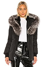 Mackage Adali Jacket With Fox Fur Collar in Black With Silver Fox Fur
