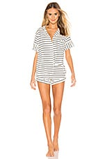 MAISON DU SOIR Monaco Short Sleeve Set in Ivory & Black Stripe