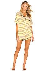 MAISON DU SOIR Monaco Short Sleeve Set in Yellow Stripe