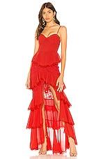 MAJORELLE Zelda Fitz Gown in Red