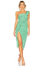 MAJORELLE Tali Midi Dress in Green Starlight