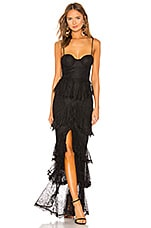 MAJORELLE Zelda Fitz Gown in Black