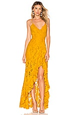 MAJORELLE Paisley Dress in Gold Yellow