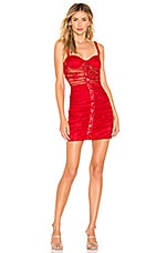 MAJORELLE Renata Mini Dress in Cranberry Red