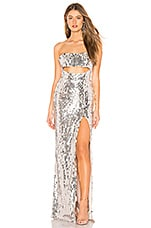 MAJORELLE Carmona Maxi Dress in Silver