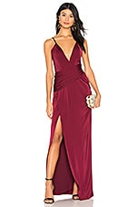 MAJORELLE Gin Sling Gown in Ruby