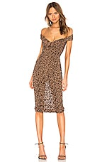 MAJORELLE Tabitha Midi Dress in Tan Leopard