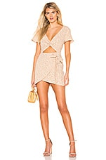 MAJORELLE Evelyn Dress in Tan Ditsy
