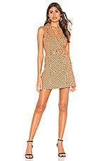 MAJORELLE Leona Mini Dress in Tan & Black Dot
