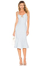 MAJORELLE Fabiana Midi Dress in Baby Blue Check