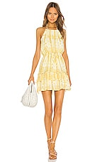 MAJORELLE Baker Mini Dress in Yellow Tie Dye
