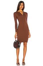 MAJORELLE Yasmine Midi Dress in Pecan Brown