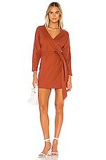 MAJORELLE Gina Mini Dress in Terracotta Brown