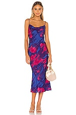 MAJORELLE Boston Midi Dress in Tie Dye Multi