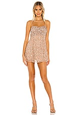 MAJORELLE Rhodes Mini Dress in Blush & Silver