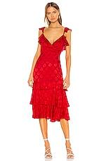 MAJORELLE Nolita Midi Dress in Red