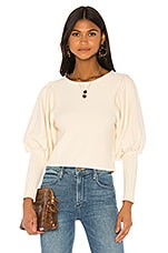 MAJORELLE Puff Sleeve Sweater in White