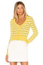 MAJORELLE Zoe Cardigan in Yellow & White