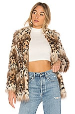 MAJORELLE Faux Fur Stella Coat in Snow Leopard